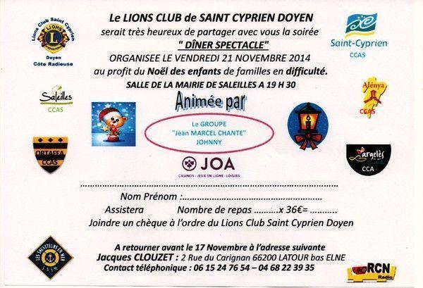 Diner Spectacle du Lions Club Doyen St-Cyprien à Saleilles